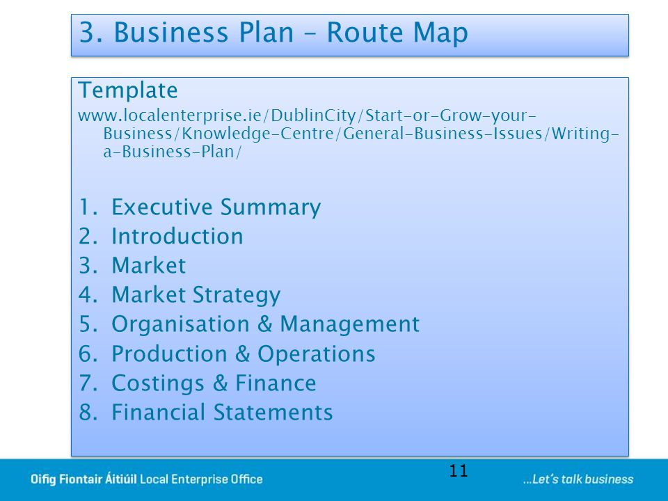 3. Business Plan – Route Map