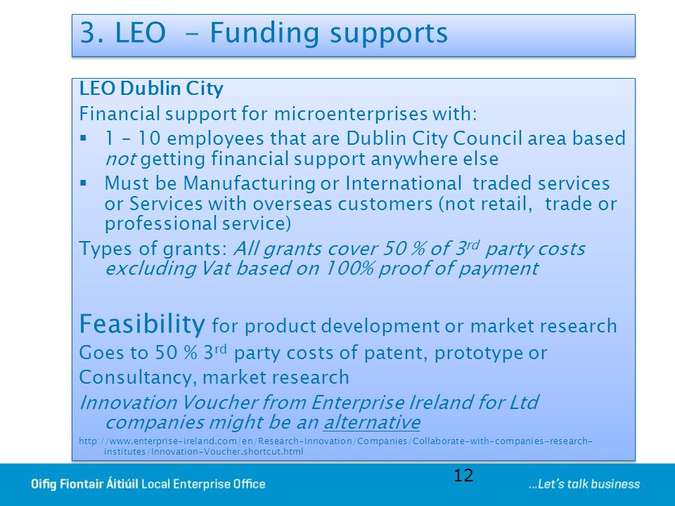 3. LEO - Funding supports LEO Dublin City. Financial support for microenterprises with: