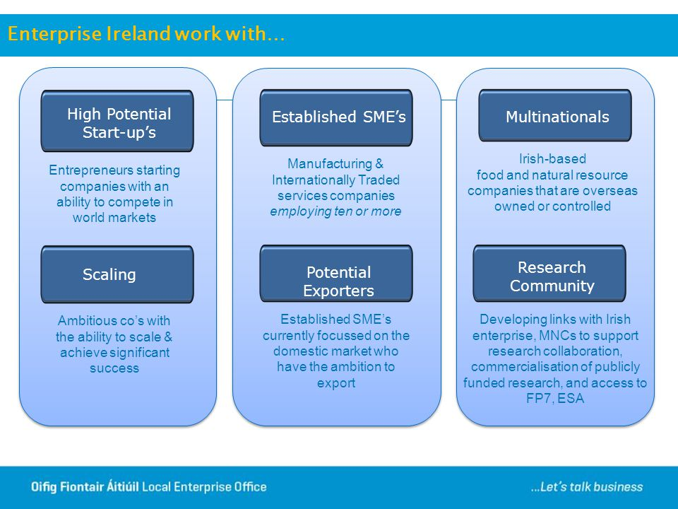 Enterprise Ireland work with…