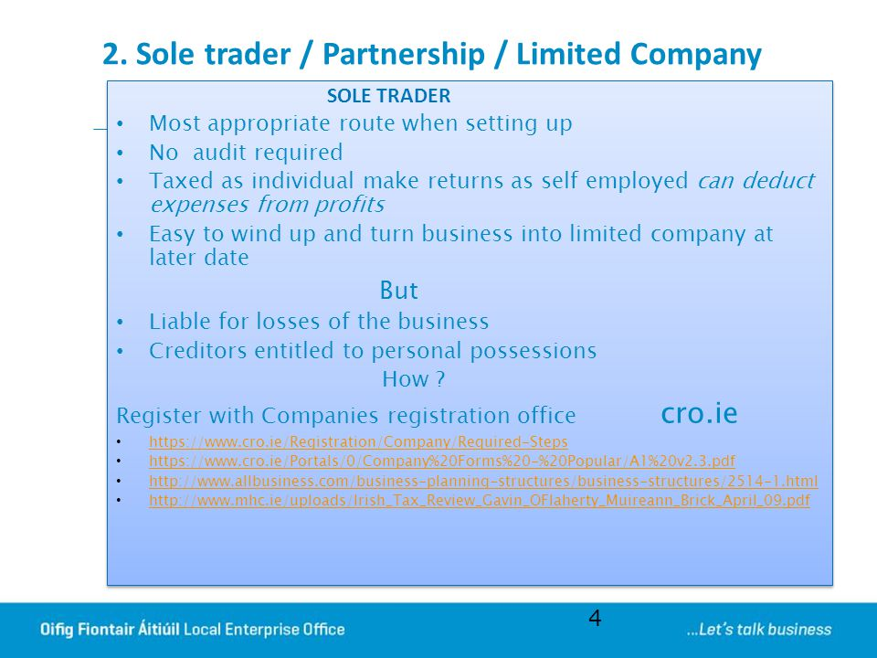 2. Sole trader / Partnership / Limited Company