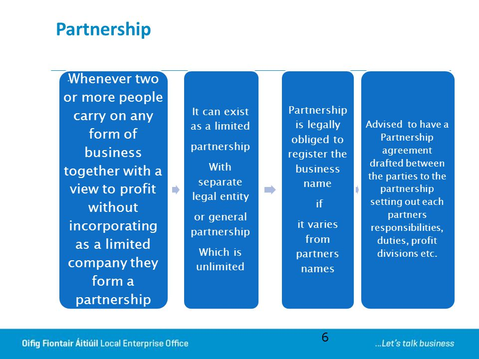 Partnership It can exist as a limited