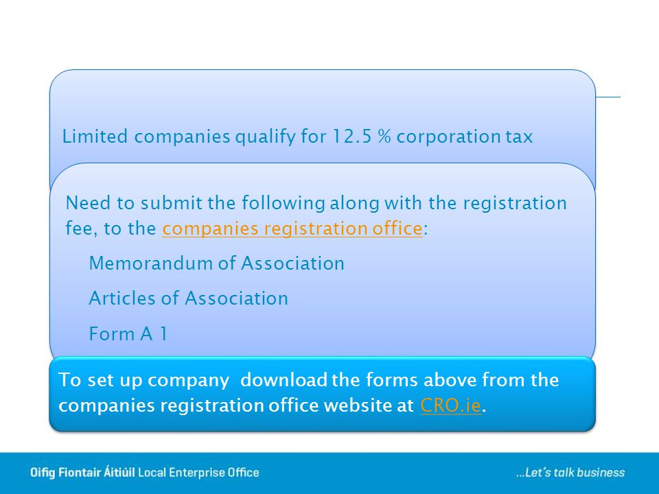 Limited companies qualify for 12.5 % corporation tax