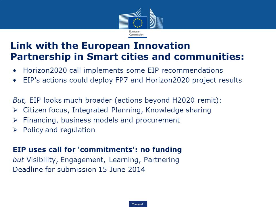 Link with the European Innovation Partnership in Smart cities and communities: