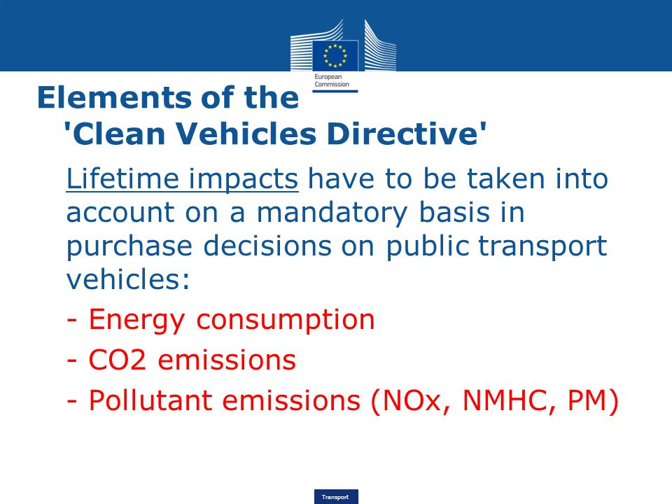 Elements of the Clean Vehicles Directive