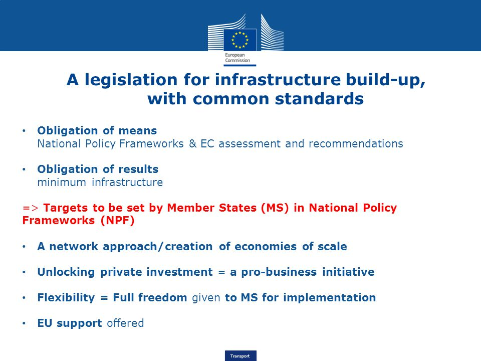 A legislation for infrastructure build-up, with common standards