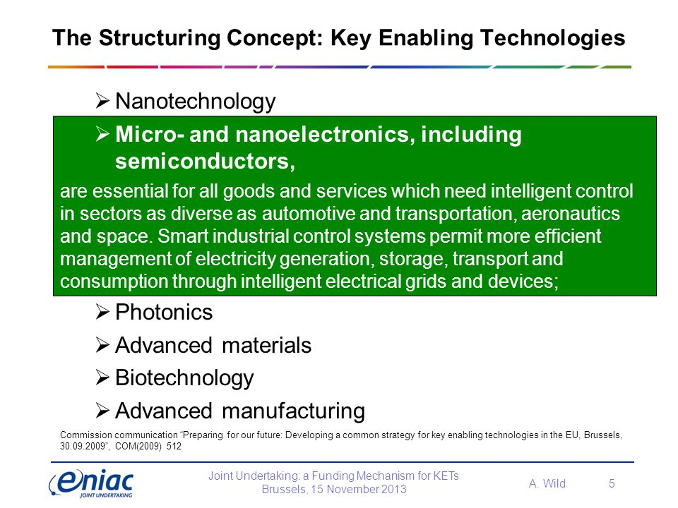 The Structuring Concept: Key Enabling Technologies
