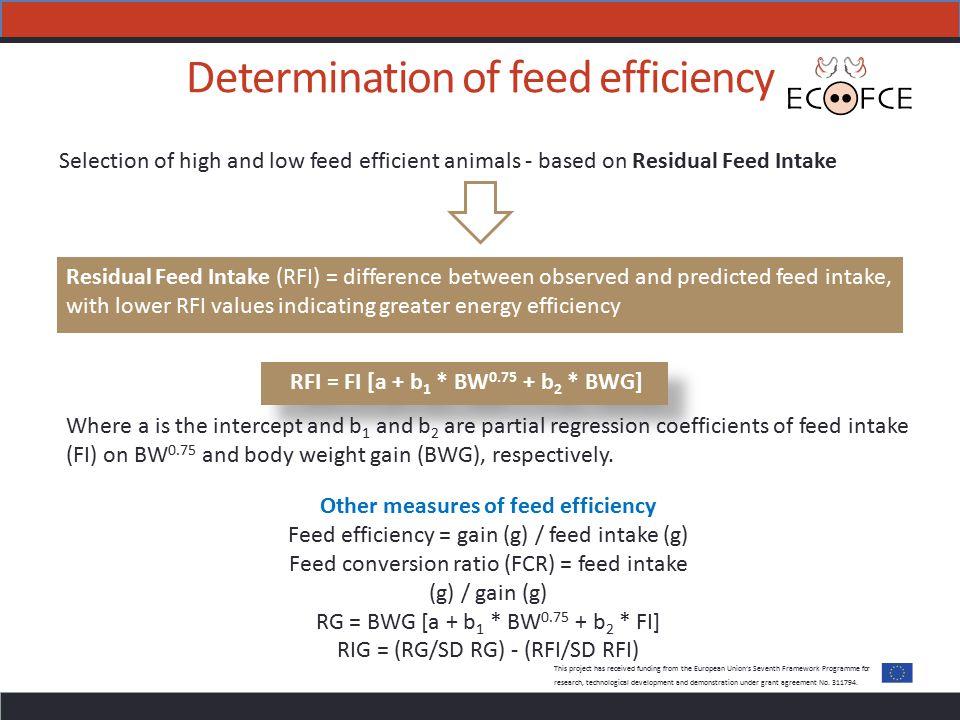 Determination of feed efficiency