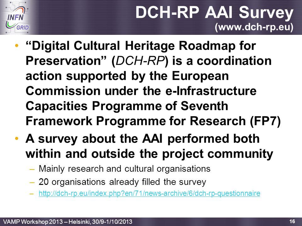 DCH-RP AAI Survey (www.dch-rp.eu)