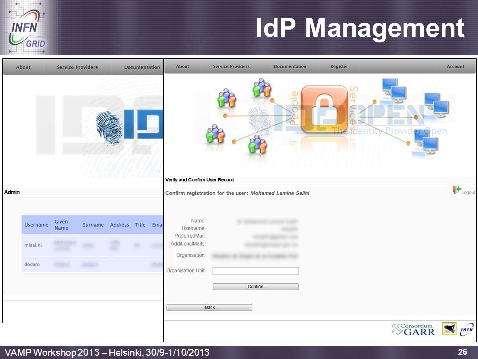 IdP Management VAMP Workshop 2013 – Helsinki, 30/9-1/10/2013