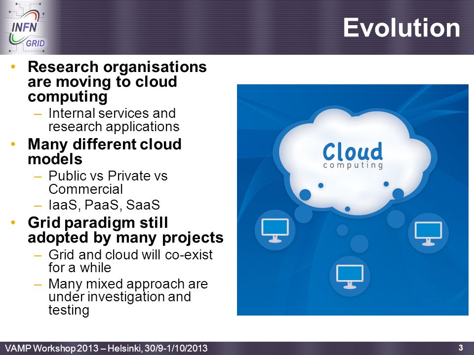Evolution Research organisations are moving to cloud computing
