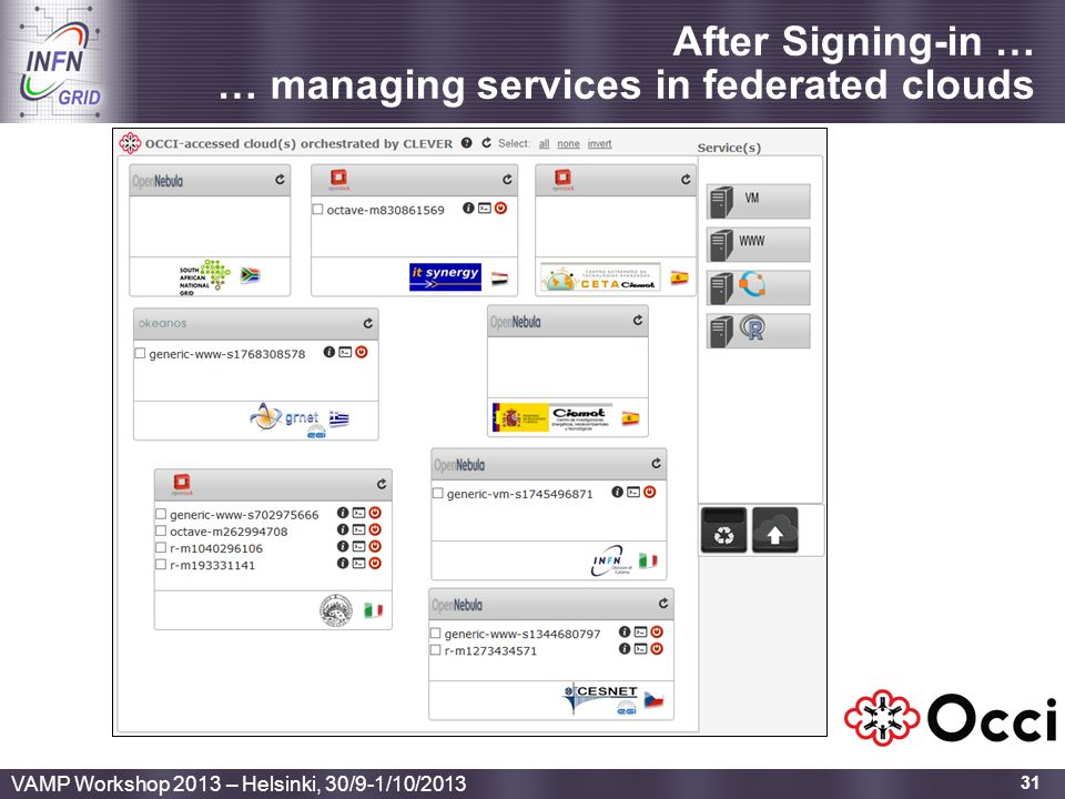 After Signing-in … … managing services in federated clouds