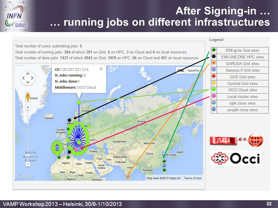 After Signing-in … … running jobs on different infrastructures