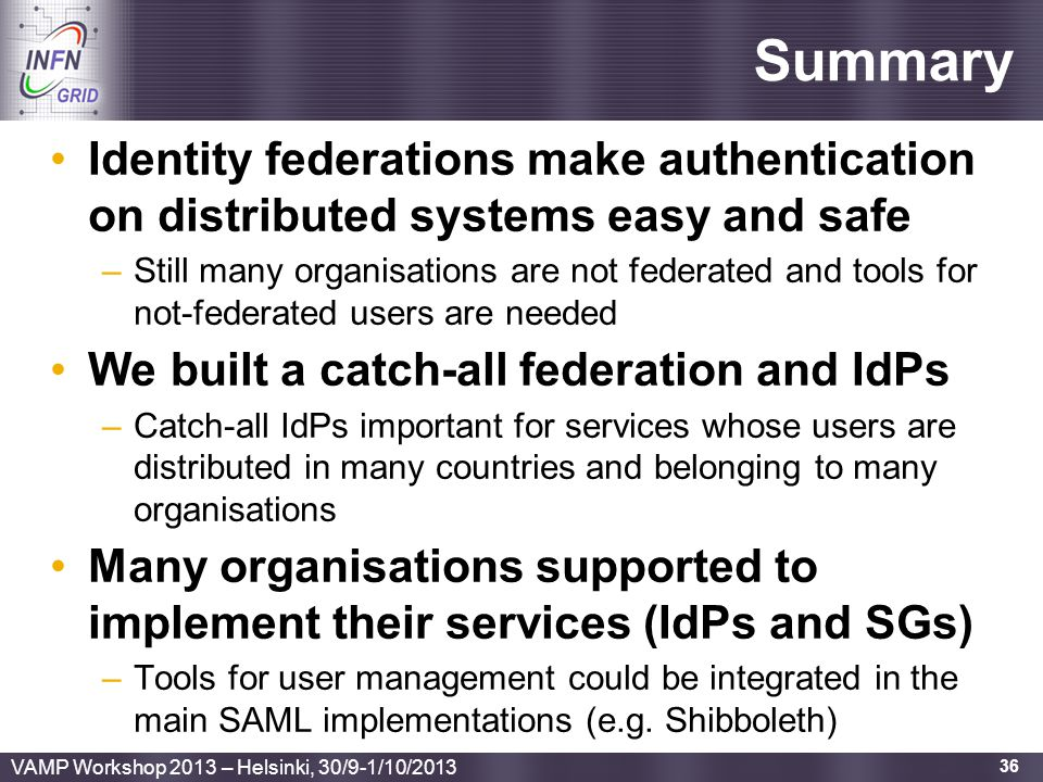 Summary Identity federations make authentication on distributed systems easy and safe.