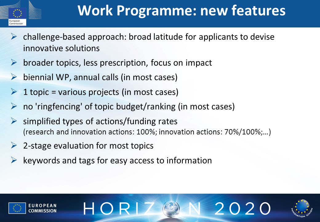 Work Programme: new features