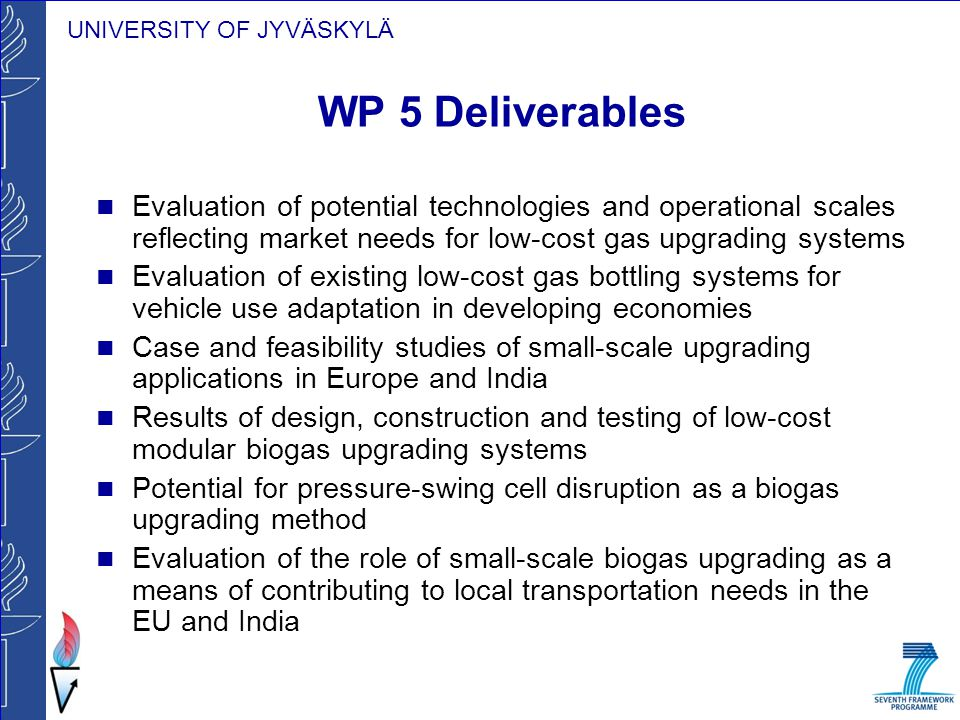 WP 5 Deliverables Evaluation of potential technologies and operational scales reflecting market needs for low-cost gas upgrading systems.