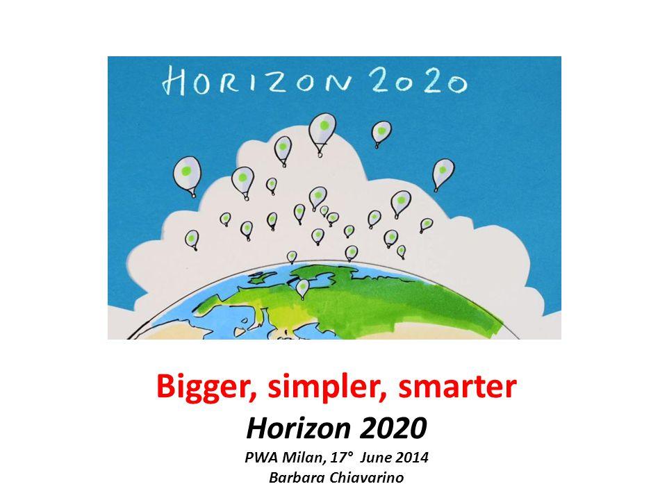 Bigger, simpler, smarter Horizon 2020 PWA Milan, 17° June 2014 Barbara Chiavarino