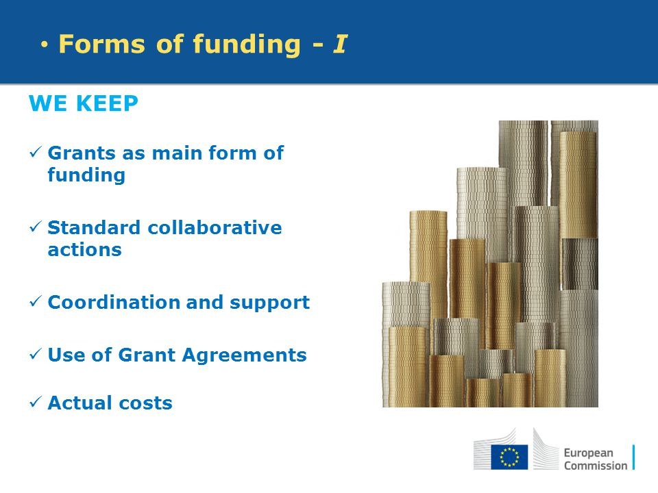 Forms of funding - I WE KEEP Grants as main form of funding
