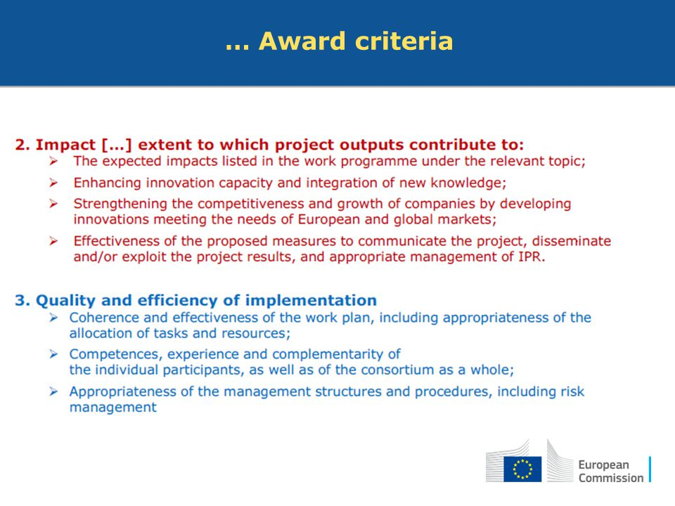 … Award criteria