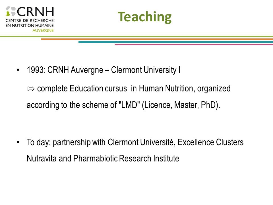 Teaching 1993: CRNH Auvergne – Clermont University I