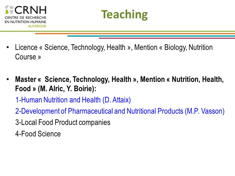 Teaching Licence « Science, Technology, Health », Mention « Biology, Nutrition Course »