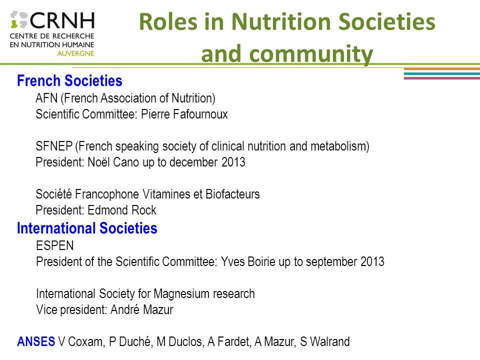 Roles in Nutrition Societies