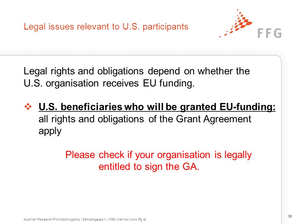 Legal issues relevant to U.S. participants