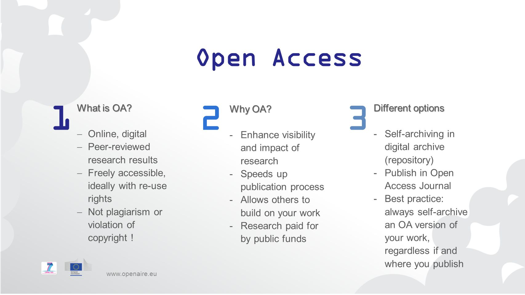 1 2 3 Open Access Different options