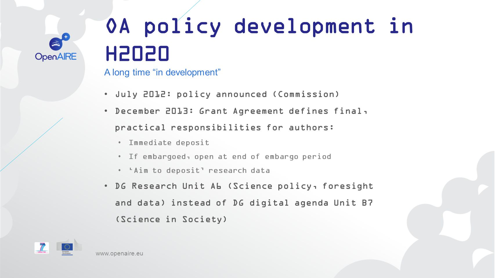 OA policy development in H2020