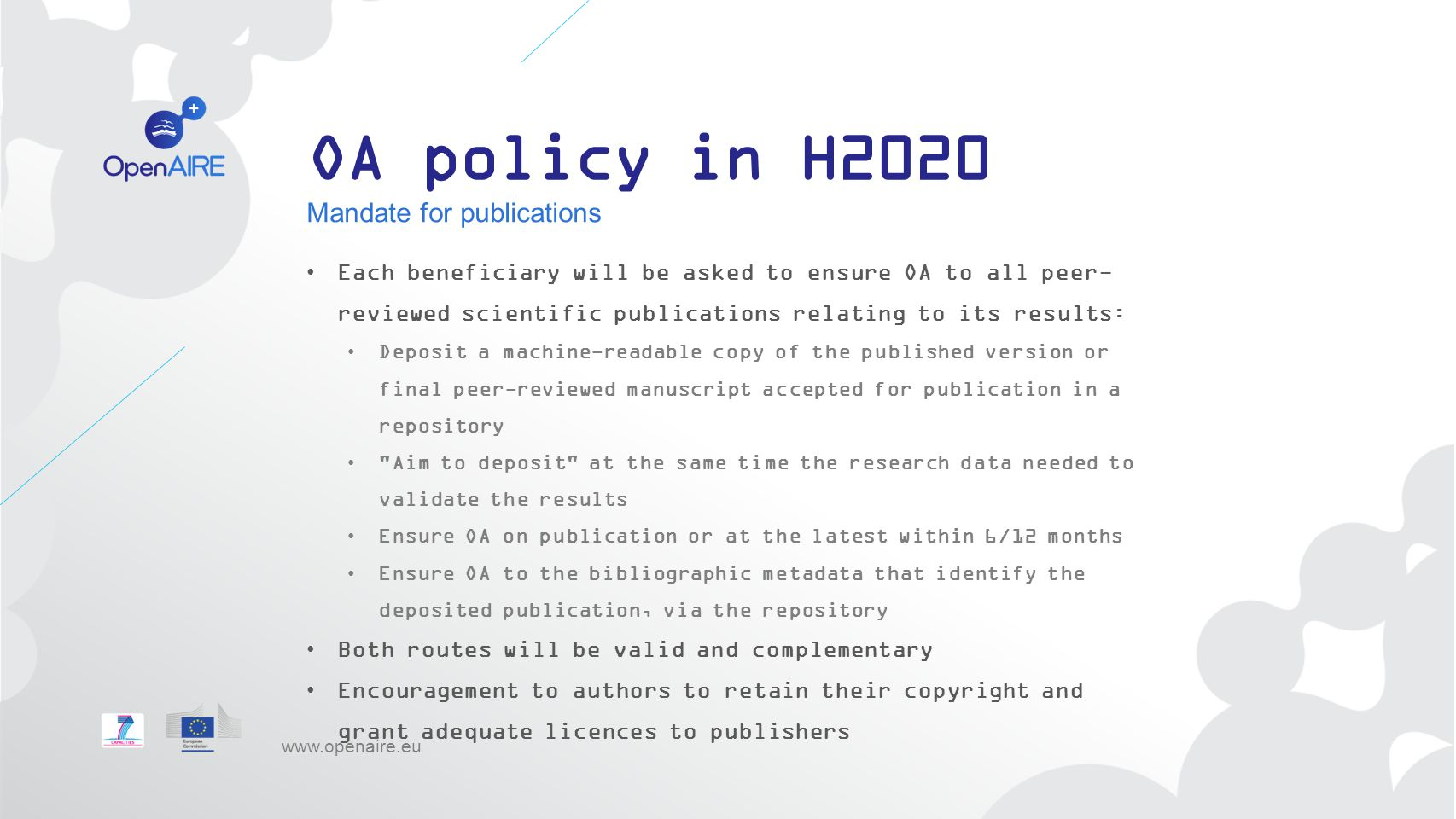 OA policy in H2020 Mandate for publications