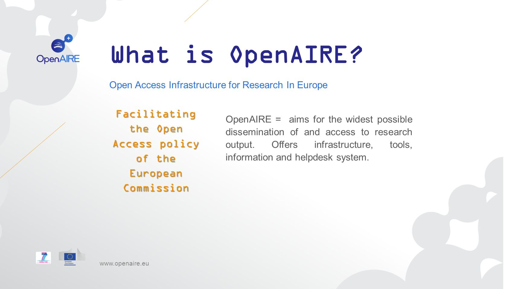 Facilitating the Open Access policy of the European Commission