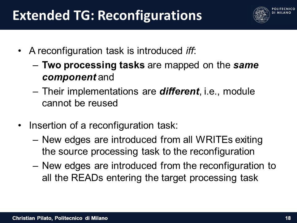 Extended TG: Reconfigurations