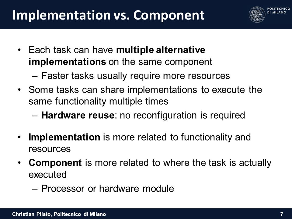 Implementation vs. Component
