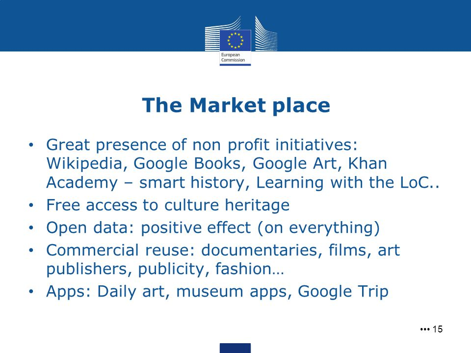 The Market place Great presence of non profit initiatives: Wikipedia, Google Books, Google Art, Khan Academy – smart history, Learning with the LoC..