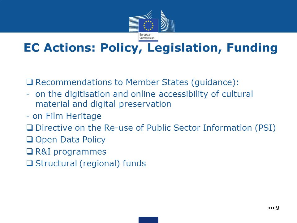 EC Actions: Policy, Legislation, Funding