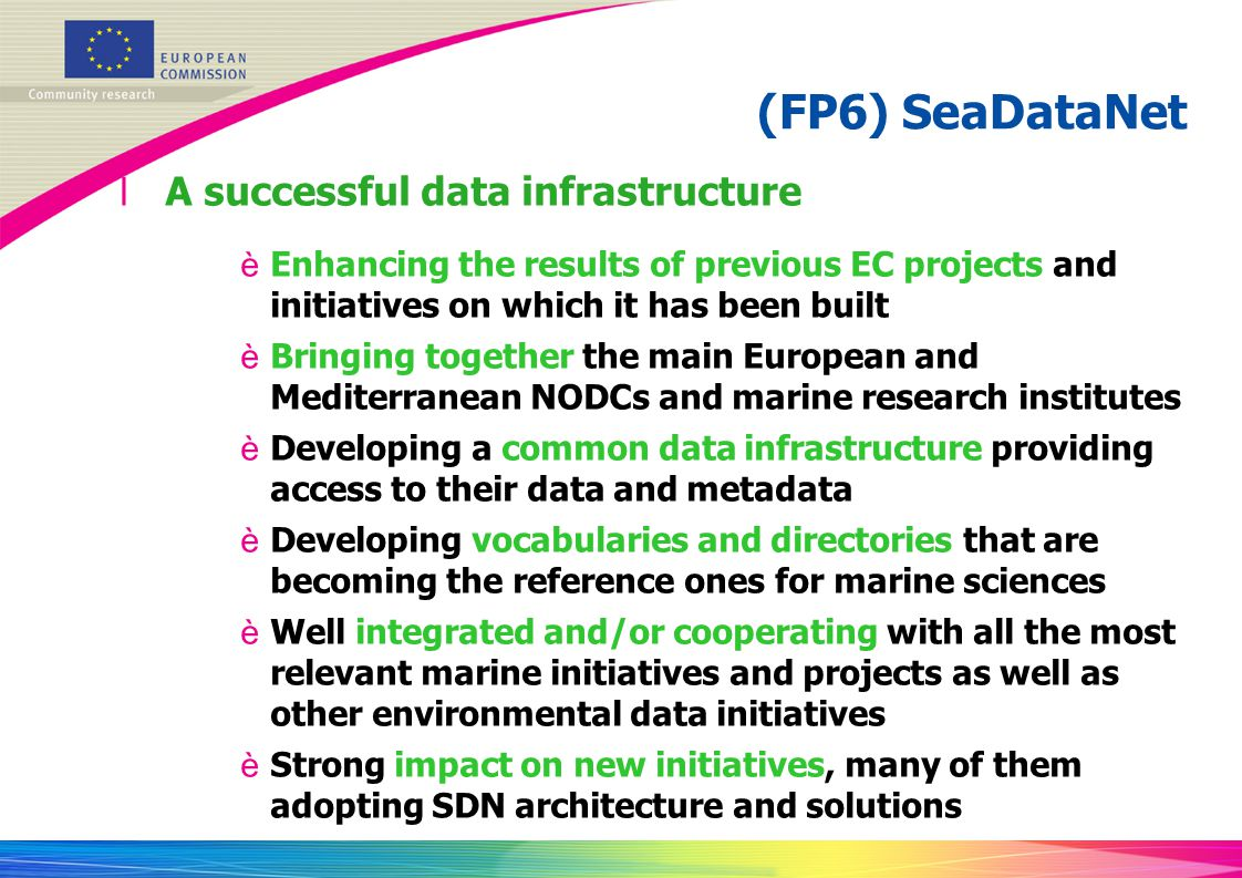 (FP6) SeaDataNet A successful data infrastructure