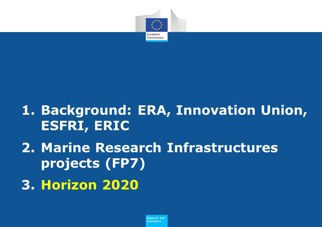 Background: ERA, Innovation Union, ESFRI, ERIC