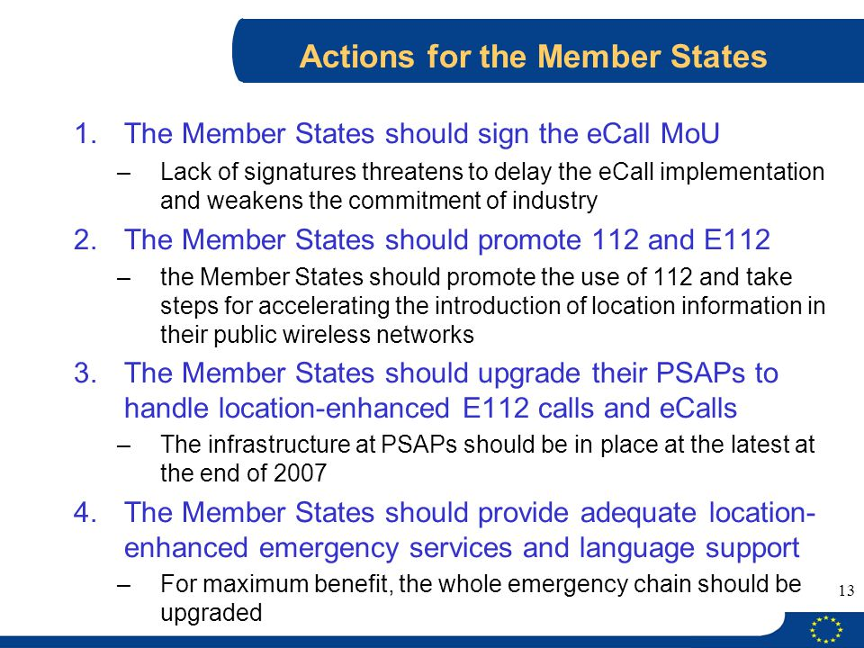 Actions for the Member States