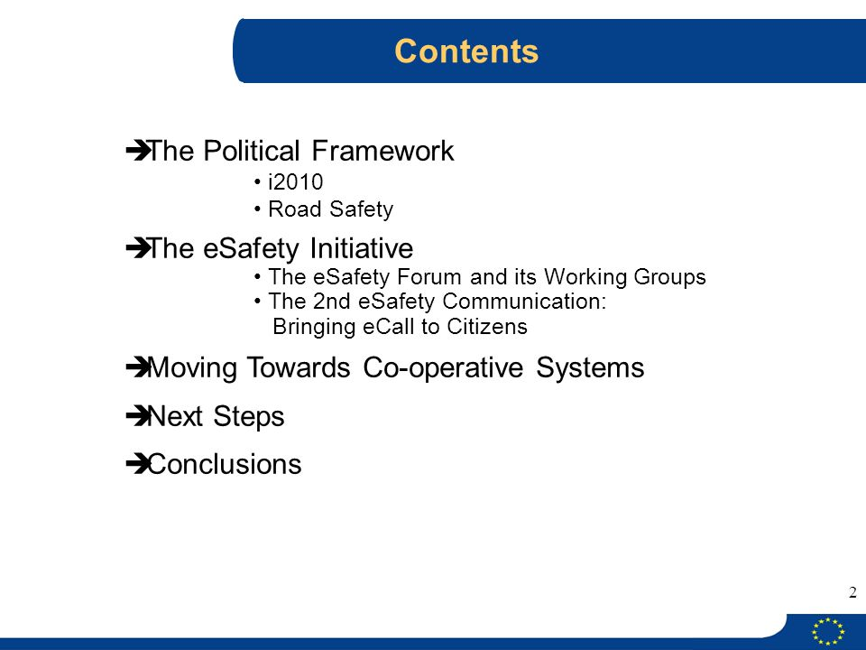 Contents The Political Framework The eSafety Initiative