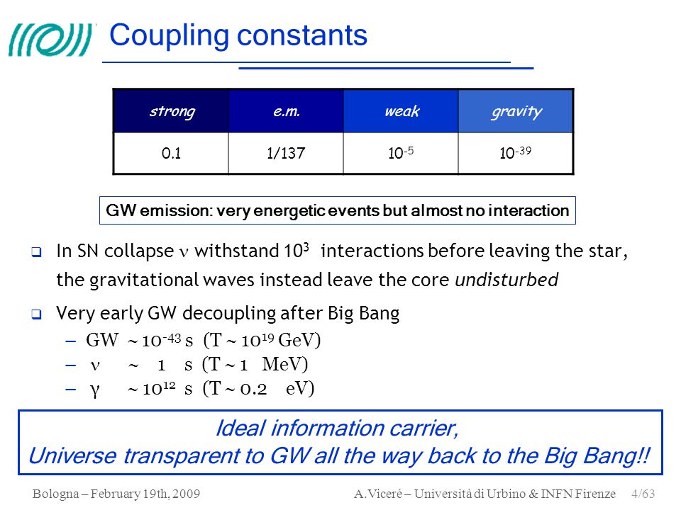 Coupling constants Ideal information carrier,