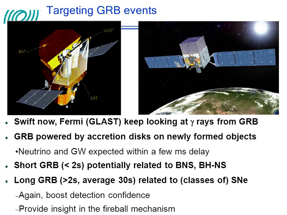 Targeting GRB events Swift now, Fermi (GLAST) keep looking at  rays from GRB. GRB powered by accretion disks on newly formed objects.