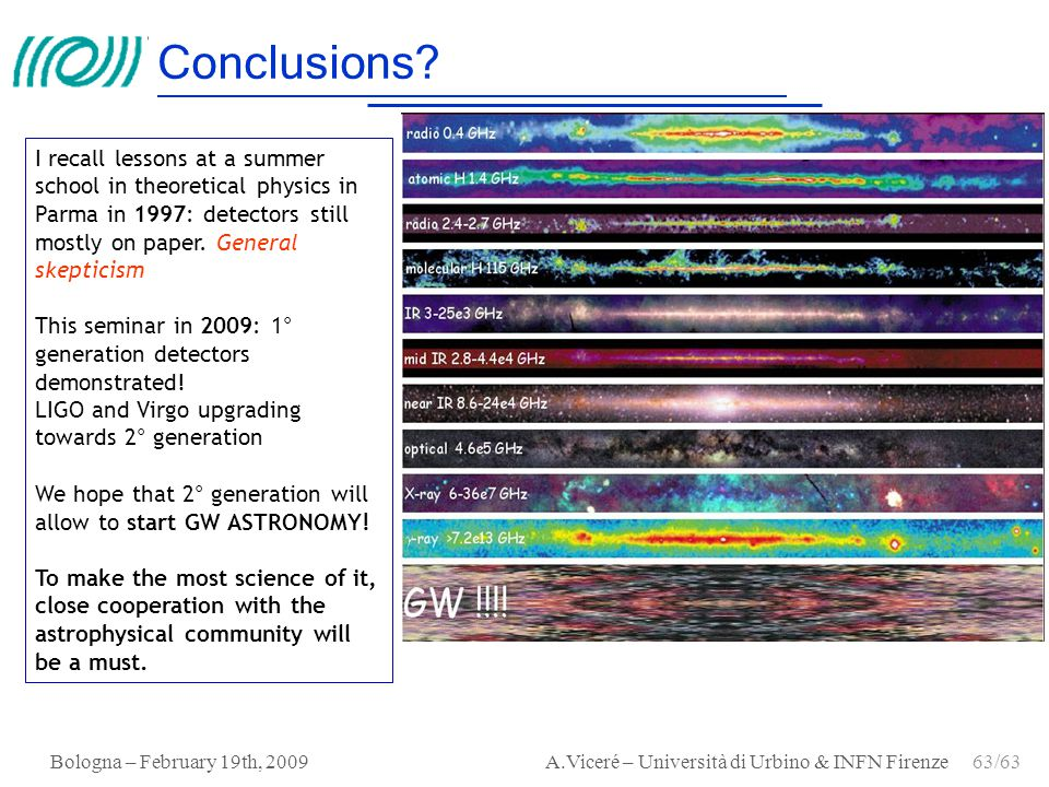 Conclusions I recall lessons at a summer school in theoretical physics in Parma in 1997: detectors still mostly on paper. General skepticism.