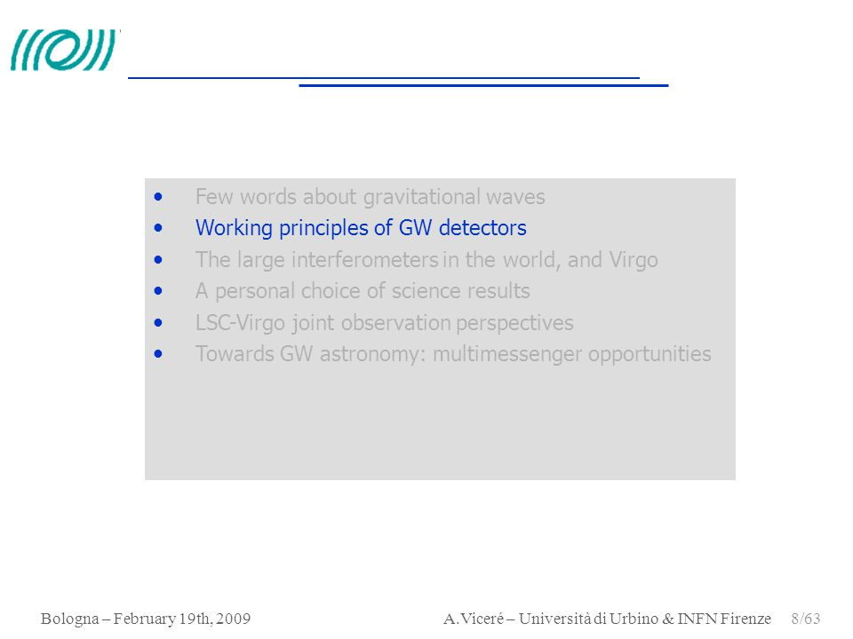 Few words about gravitational waves Working principles of GW detectors
