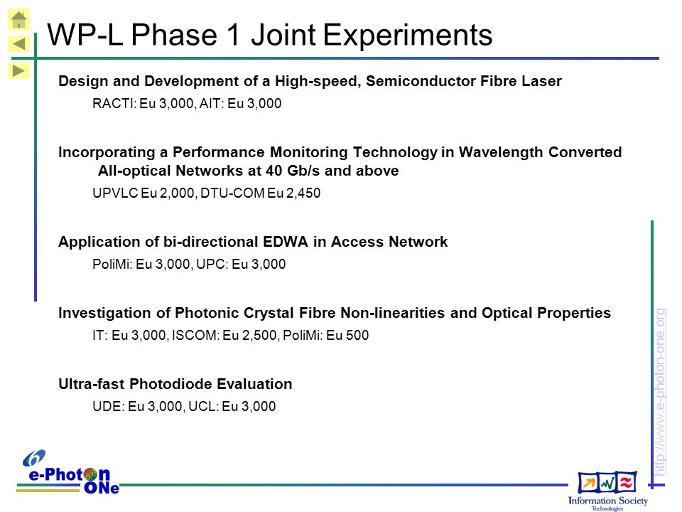 WP-L Phase 1 Joint Experiments
