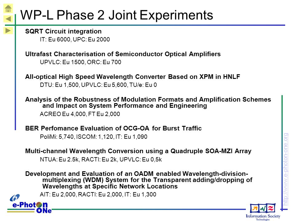 WP-L Phase 2 Joint Experiments