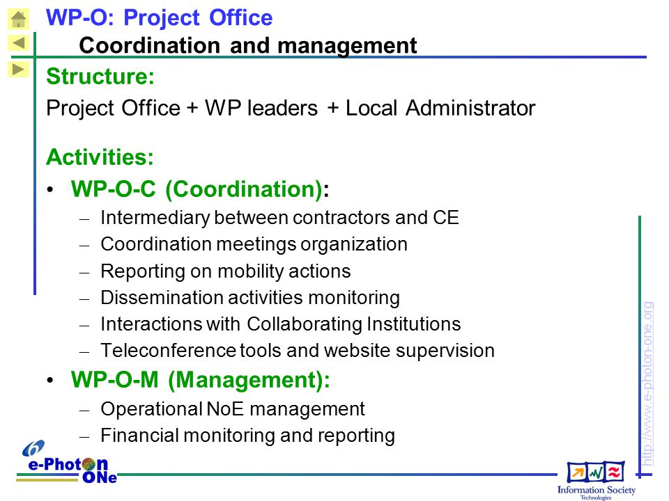 WP-O: Project Office Coordination and management