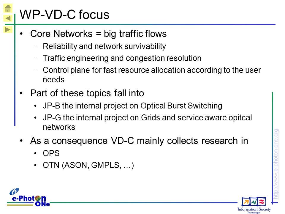 WP-VD-C focus Core Networks = big traffic flows