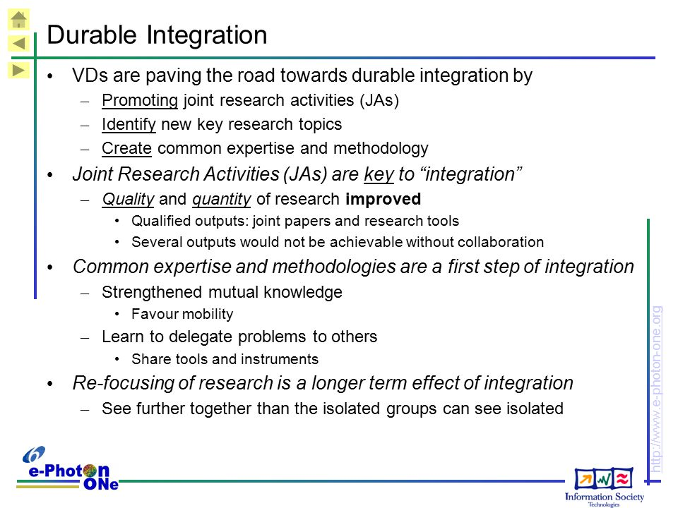 Durable Integration VDs are paving the road towards durable integration by. Promoting joint research activities (JAs)