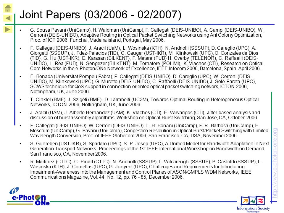 Joint Papers (03/2006 - 02/2007)