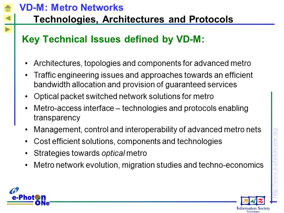 VD-M: Metro Networks Technologies, Architectures and Protocols