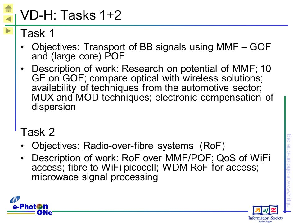 VD-H: Tasks 1+2 Task 1. Objectives: Transport of BB signals using MMF – GOF and (large core) POF.